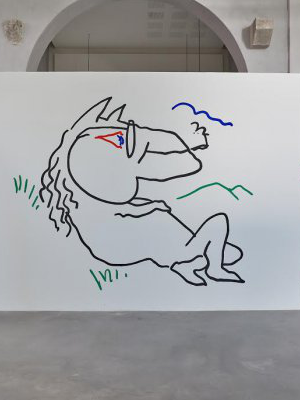 <i>Poney</i>, Peinture murale acrylique, Dimensions variables, 2017. Photo : ©f.deladerriere